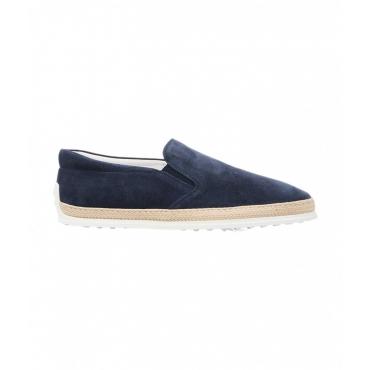 Pantofole in camoscio blu scuro