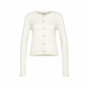 Cardigan con bottoni in strass crema