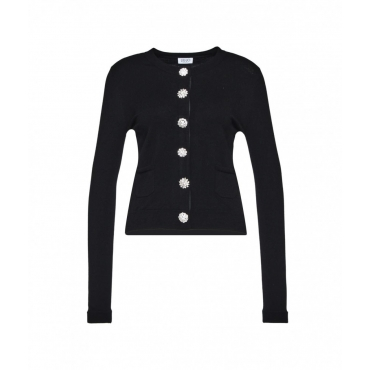 Cardigan con bottoni in strass nero