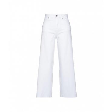 Flare jeans con orlo a frange bianco