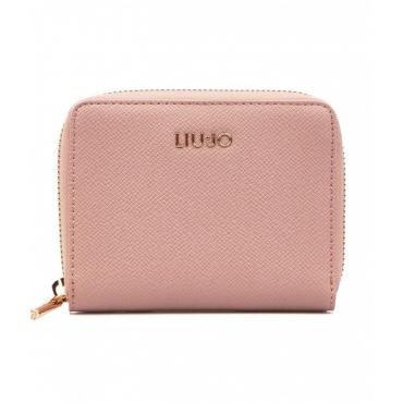 Portafoglio zip around mini rosa chiaro