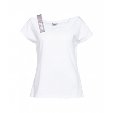 T-Shirt con spallina in strass bianco
