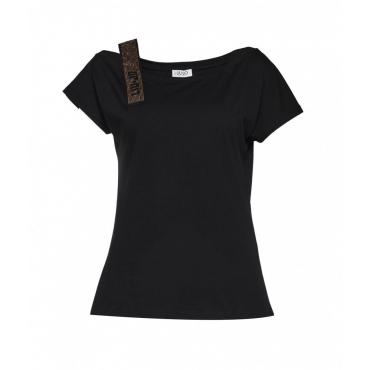 T-Shirt con spallina in strass nero