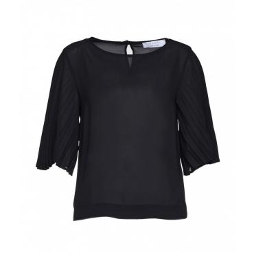 Blusa con maniche plissettate nero