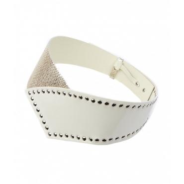 Cintura in pelle con dettagli borchie bianco