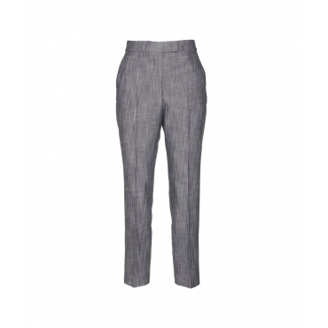 Pantalone in tessuto schreziato grigio