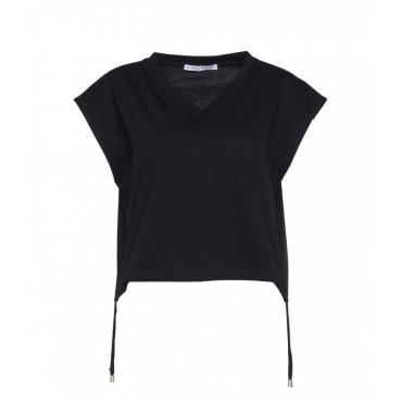 T-shirt con coulisse in vita nero