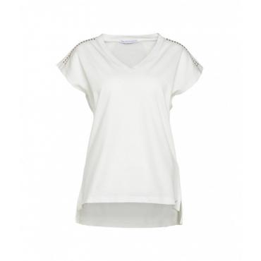T-shirt con borchie bianco