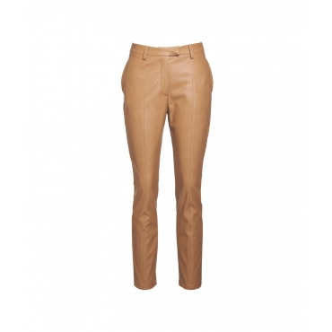 Pantaloni in ecopelle Smoking marrone