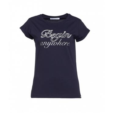 T-shirt con scritta logo blu