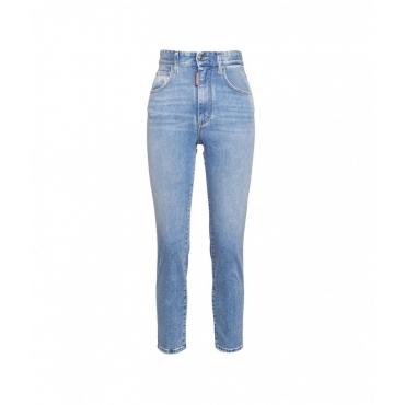 Jeans con applicazione strass azzurro