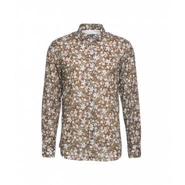 Camicia floreale Simo marrone