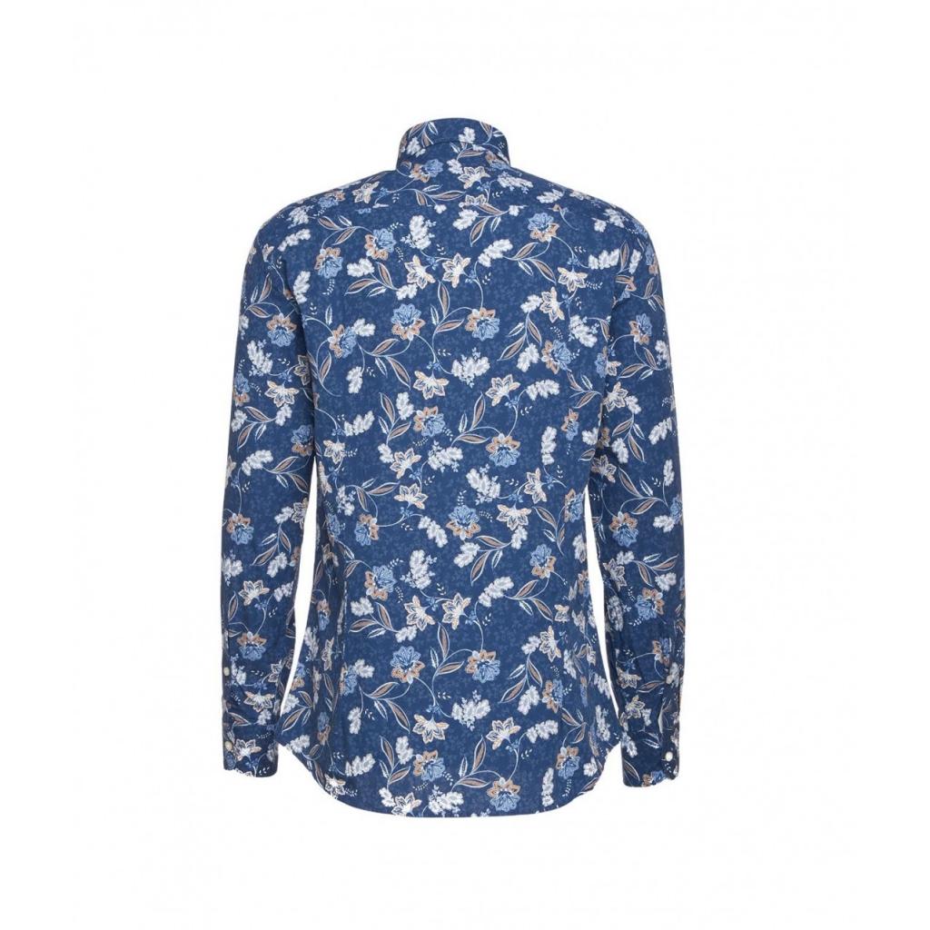 Camicia con motivo floreale blu