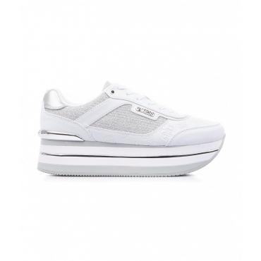 Sneaker in finitura glitter bianco