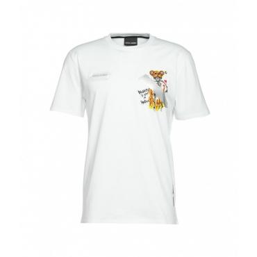 T-shirt con logo e stampa bianco