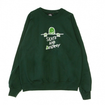 FELPA GIROCOLLO GONZ SAD LOGO CREW FOREST GREEN