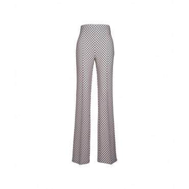 Pantaloni con stampa allover crema