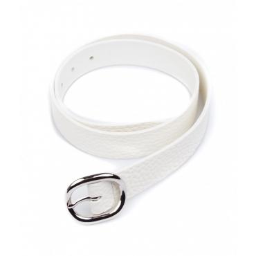 Cintura in pelle con fibbia bianco
