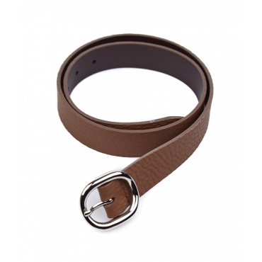 Cintura in pelle con fibbia marrone
