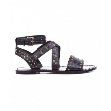 Sandali a fascia con rivetti nero