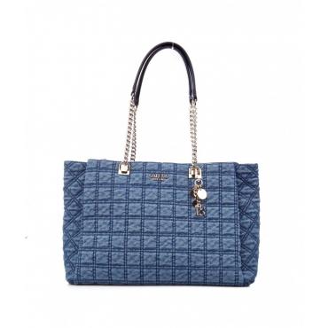 Shopper in denim trapuntato Kamina blu