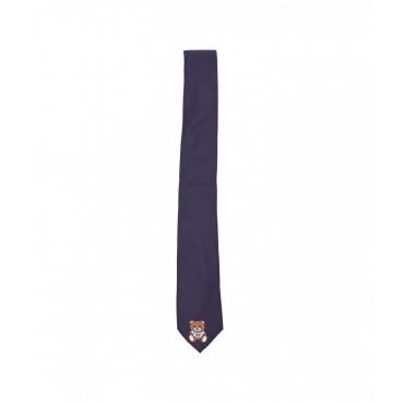 Cravatta con stampa logo blu scuro