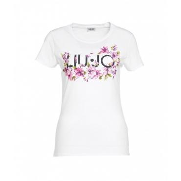 T-shirt con stampa del logo e applicazioni bianco