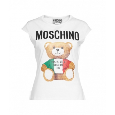 T-Shirt con stampa orsacchiotto bianco