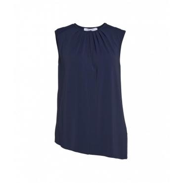 Camicia con pieghe blu scuro