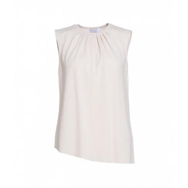 Camicia con pieghe crema