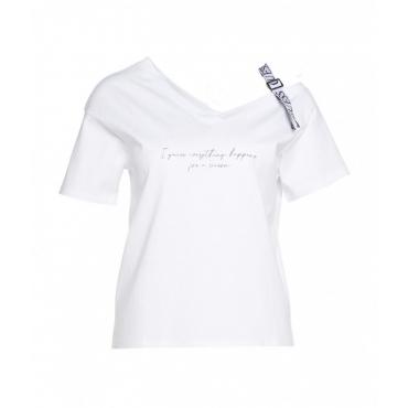 T-Shirt con nastro logo bianco
