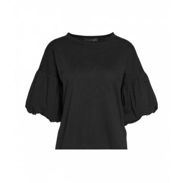 T-Shirt con maniche a sbuffo nero