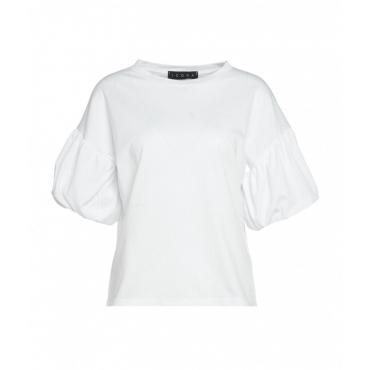 T-Shirt con maniche a sbuffo bianco