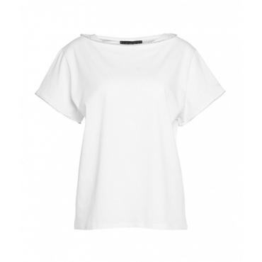 T-Shirt con inserti strass bianco