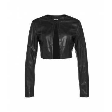Giacca in eco pelle cropped nero