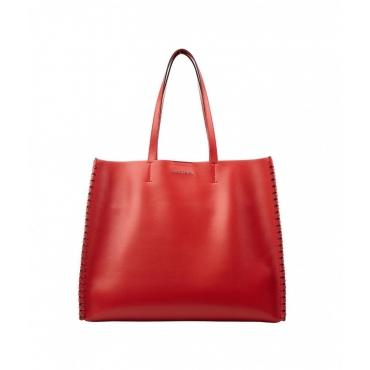 Shopper con dettagli intrecciati rosso