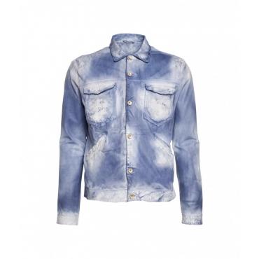 Giacca di pelle leggera con sfumatura azzurro