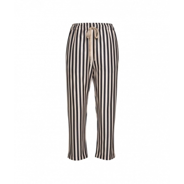 Pantaloni a strisce a contrasto oro