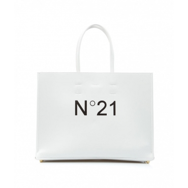 Shopper con logo bianco