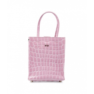 Mini shopper con motivo a coccodrillo pink
