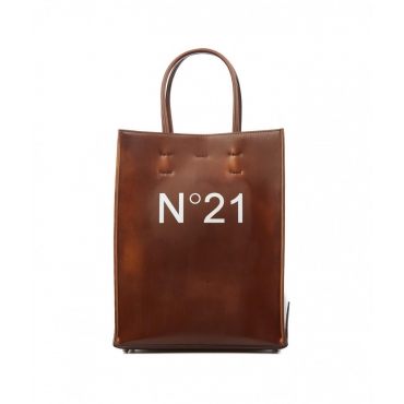 Shopper with logo marrone