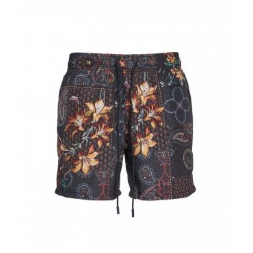 Pantaloncini da bagno con stampa paisley nero