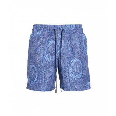 Pantaloncini da bagno con stampa paisley azzurro