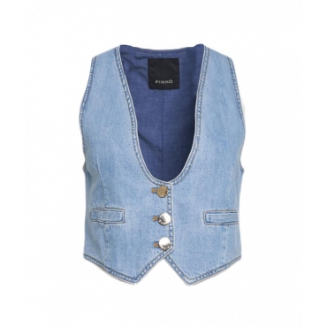 Gilet in denim Clementina blu