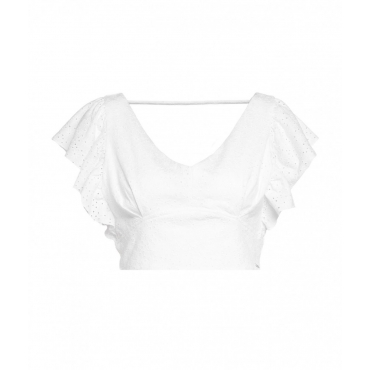 Top cropped in pizzo bianco