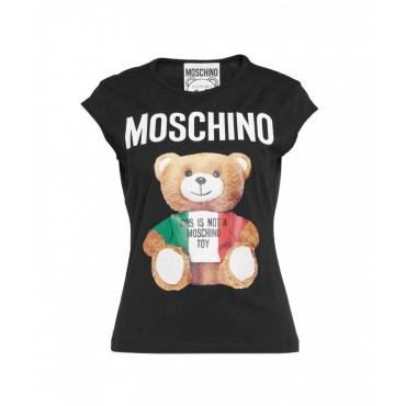 T-Shirt con stampa orsacchiotto nero