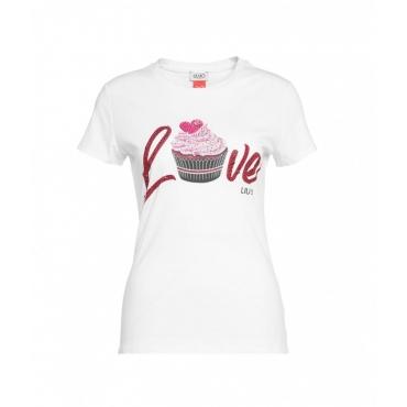 T-shirt con scritta in strass bianco