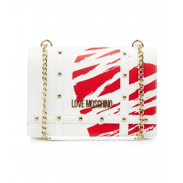 Borsa a tracolla Scratched heart bianco