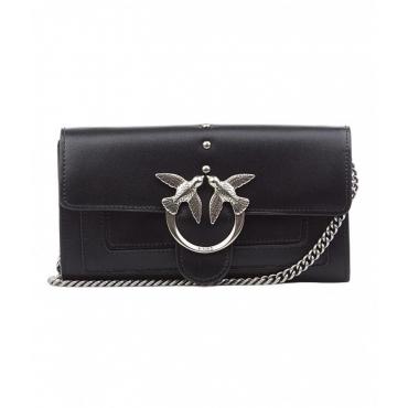 Mini borsa con chiusura con logo nero