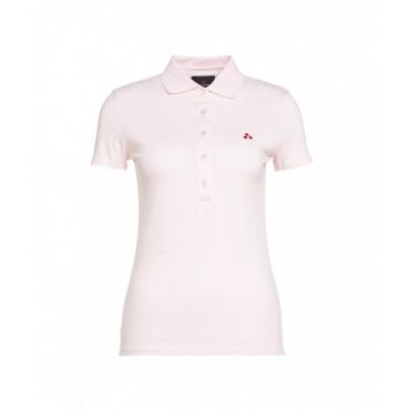 Polo con ricamo del logo rosa